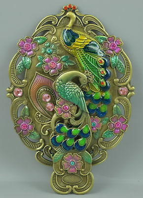 Old Fine Cloisonne Copper Carve Phoenix Flower Usable Rare Gift Hand Mirror Gift
