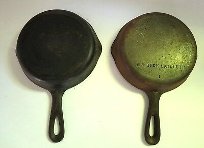 """Pair of Vintage 6-1/2"""" Skillets Wagner Ware Cast Iron #1053 & Unmarked pre 1960"""