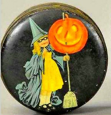Halloween Witch Girl Jack-o-lantern Biscuit Tin Candy Container Litho