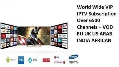 """1 Years"" BEST IPTV +6500 Ch&VOD WORLDWIDE ""PRO"" IPTV SUBSCRIPTION"