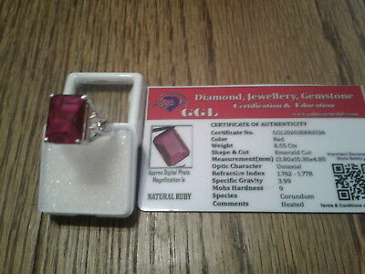 Natural EMERALD  cut 8.05 ct RUBY  RING STERLING SILVER GGL CERTIFIED STONE !!!