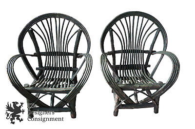 Handmade Twig & Branch Bentwood Adirondack Willow Arm Chairs Fan Back Cabin