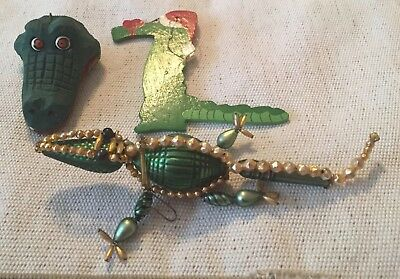 Lot Of 3 Alligator Christmas Ornaments