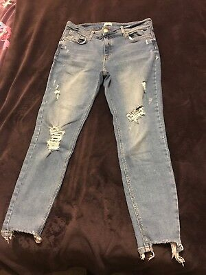 Ladies River Island Amelie Mid Rise Super Skinny Ripped Jeans 16 Reg
