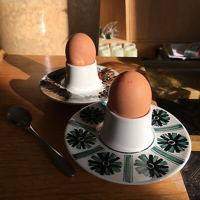 1960s Vintage Jersey Pottery Ceramic Egg Cups (Pair)