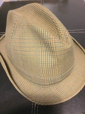 Mens Dunn & Co. Vintage Trilby Hat Size Seven & One Eighth Green & Brown Check