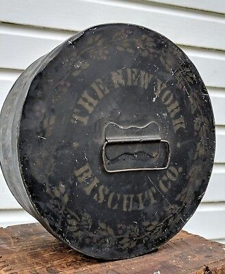 RaRe New York Biscuit Fruit Cake Can Tin Sign Display Bakery Advertising Antique