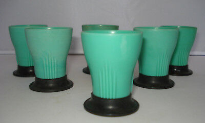 British Made - Early Plastic / Bakelite - 6 Art Deco Egg Cups