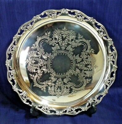 Small Chased Silver Plated Round Tray. Thomas Hands & Son, Birmingham. N1832