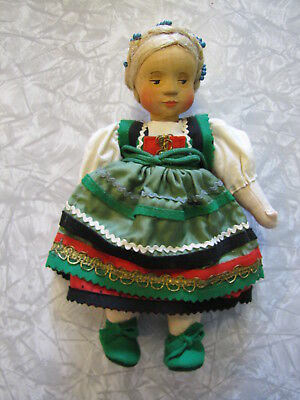 """Vintage Hand Carved Wooden Head German Girl Doll by Anna Fehrle ~ 9"""" Tall"""