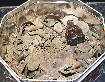 Job Lot Of Old Metal Detector Finds , Coins, Buckles , Interesting Items