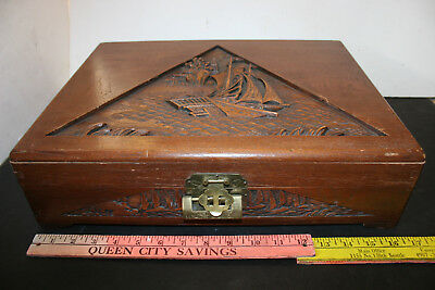 Old Wood Wooden Hand Carved Asian Jewelry Box Trinket Box Nautical