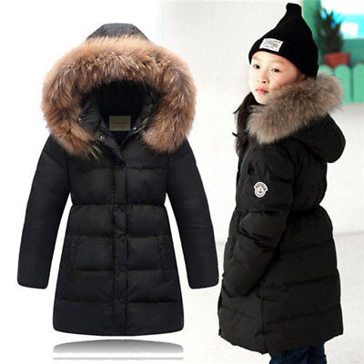 Girls Winter Down Jacket Thick Hooded Kids Outwear Coat Fur Collar Long section