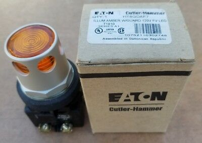 Eaton HT8GDAF7 Illuminated Amber Push Button with Guard - NEW