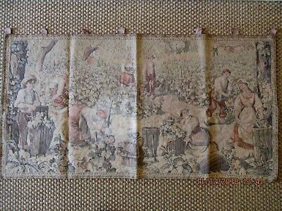 Large French Tapestry Romantic Grapes Scene  24x46""