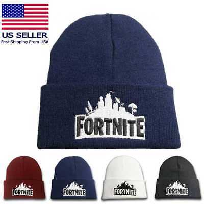 Fortnite Knit Beanie Soft Winter Hat Unisex Black Blue Red White Embroidered
