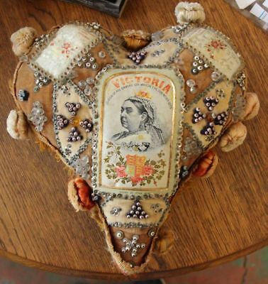 Large Antique Queen Victoria Heart Pin Cushion