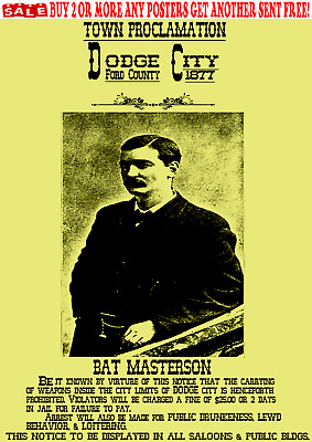 Old West Wanted Poster Outlaw Western Bat Masterson Reward Sheriff