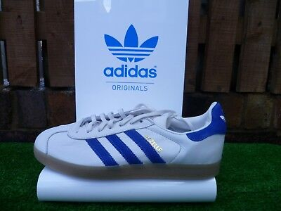 more photos 0de14 7d879 Adidas GAZELLE 80s casuals WHITE BLUE LEATHER COLOURWAY UK8.5 BNWT RARE LOOK