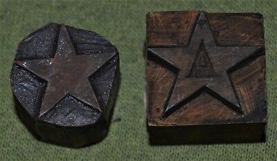 Xylography Printing Printers Letterpress Carved Wood Block Star x2 Woodcut OLD