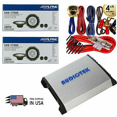 "2 Pairs Alpine SXE-1750S 6.5"" Car Speaker Package w/ 1000 Watts Amplifier + Kit"
