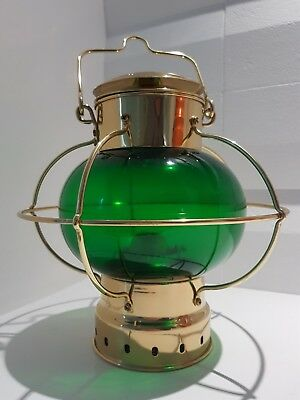 Nautical Ships Oil Lantern/Lamp Gold With Green Glass Brand New