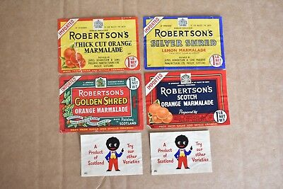 6 Vintage Robertsons Little Black Doll Jam Labels