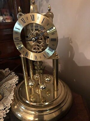 VTG Elgin American  Anniversary Pendulum Clock-Mantle Glass Dome 11.5 Inch
