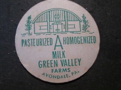 Milk Bottle Cap Green Valley Farms Dairy Avondale Pa