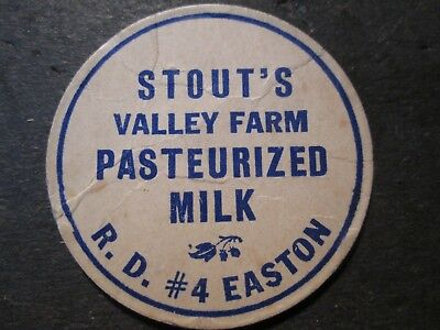 Milk Bottle Cap Stout's Valley Farm Dairy Easton Pa