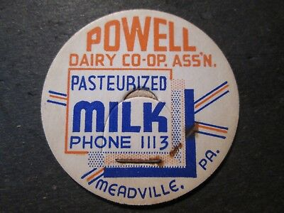 Milk Bottle Cap Powell Dairy Co-Op Ass'n Meadville Pa