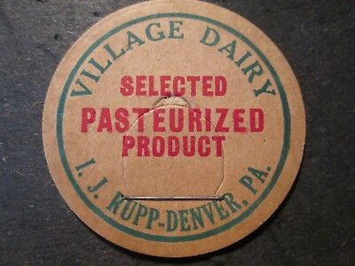 Milk Bottle Cap Village Dairy I J Rupp Denver Pa