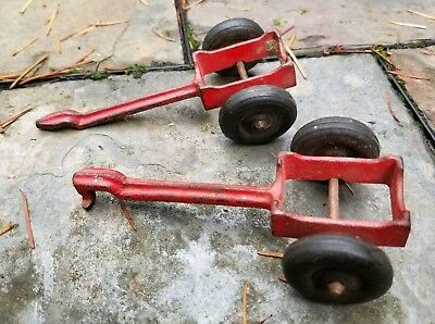Antique Lot of 2 HUBLEY Telephone Pole Trailers Part #2364 Red Cast Iron Toys