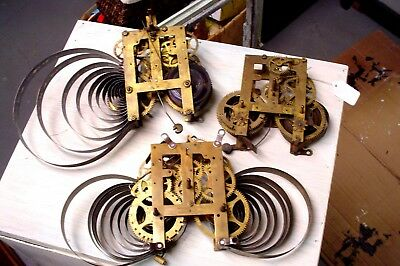 Lot of 3 Antique Gilbert Clock Movements for Parts or Restore