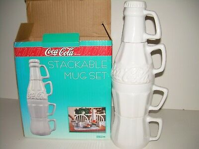 Coca Cola Stackable White Ceramic Coke Coffee Mug Set With Creamer & Sugar - NEW