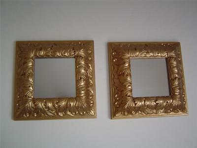 """(2) 8"""" x 8"""" SQUARE WALL MIRRORS Gold Acanthus Leaf Frames Picture Accent Plaques"""