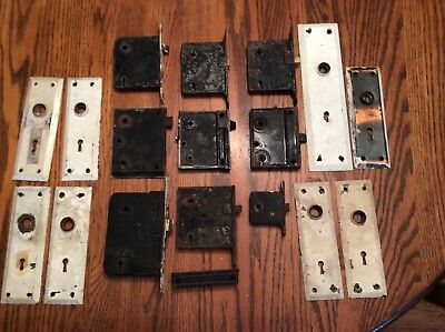 Vintage Lot Of Antique Mortise Door Locks & Backplates