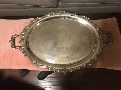 Vintage  Silverplate  Over Copper Large Serving Tray