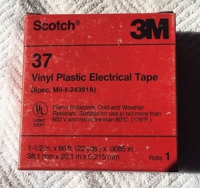 "SCOTCH 3M  MODEL 37 VINYL PLASTIC ELECTRICAL TAPE 1-1/2"" x 66 FT FLAME RETARDANT"