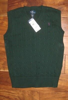 Nwt Ralph Lauren Polo Kids Hunter Green Cable Knit V Neck Sweater  Size M 12