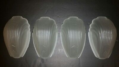 Vintage 1920s 30s Satin Frosted ART DECO GLASS WALL SCONCE LIGHT SHADES S/4