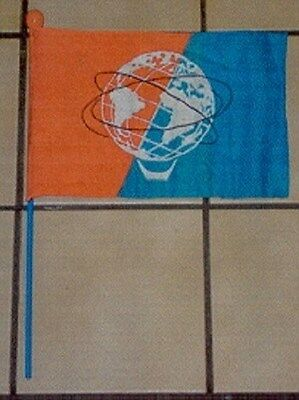 "1964 New York World's Fair 11 1/2"" X 8"" Unisphere Depicted Flag W/Pole No. 2"