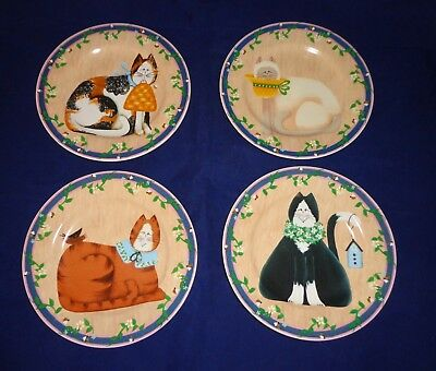 Sakura Stoneware '' Garden Cats''  Set Of 4-- 8'' Plates