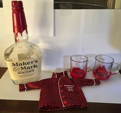 LOT MAKERS MARK Red WAX Bourbon Whiskey Lowball Tumbler Bar Glasses Bank Bottle
