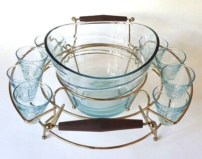 Vtg MCM Mid Century Modern Gold Wire Rack Holder 8 Glass Punch Bowl Set Atomic