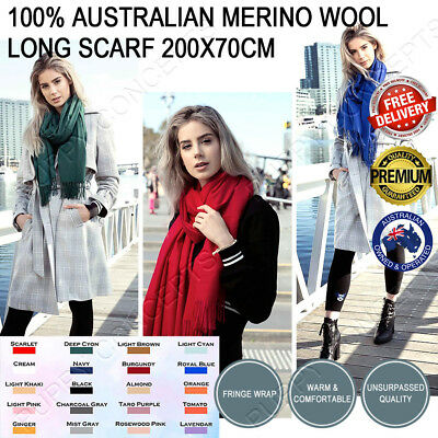 100% Australian Merino Wool Long Scarf Fringe Wrap Shawl Winter Women 200x70cm
