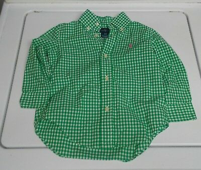 Boys Polo Ralph Lauren Green and White Check Button Up Shirt 2T