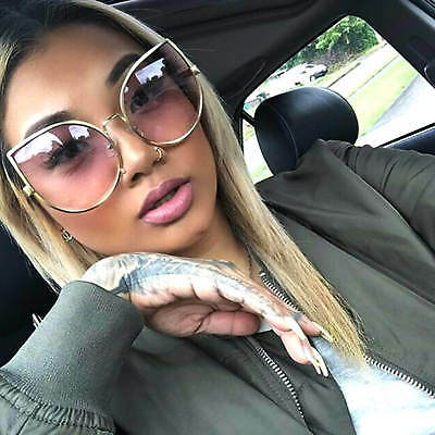 Large Cat Eye Oversized Sunglasses Large Metal Frame Women Fashion Color Lens