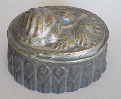 Vintage antique copper and tin jelly cake dessert mold with rose design