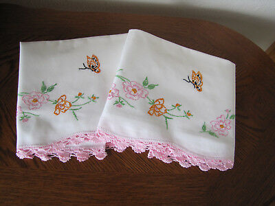 Vintage Pair of Pillowcases Embroidered & Crocheted Cherry Blossoms & Butterfly